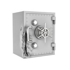 Rendering of damaged safe box isolated on white background