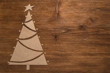 Spruce made of corrugated cardboard