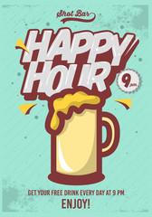 Happy Hour Poster  For Advertising. Beer Mug Illustration. Comic
