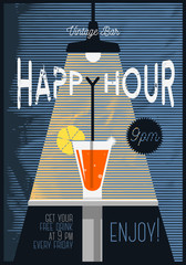 Neo Vintage Happy Hour Poster  For Advertising. Cocktail Glass U