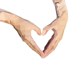 hands heart love shape polygon