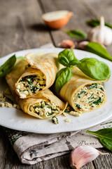 Savory pancakes with tofu, spinach, onion and garlic