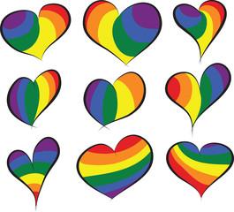 Rainbow Flag Hearts Collection Vectors