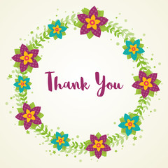 Thank you card with wreath flowers. Vector illustration.