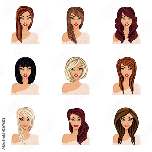 Set of hairstyles for girls, create your avatar, young woman girl ...