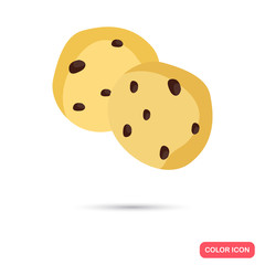 Color flat cookie with chocolate icon. Flat design
