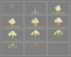 Fog vertical explosion special effect animation frames