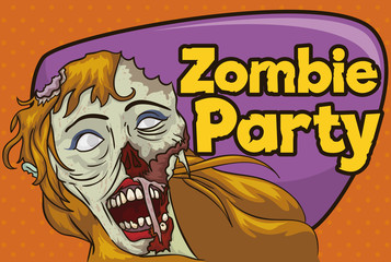 Invitation to Zombie Party with Undead Blond Haired Female, Vector Illustration