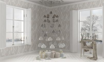 Scandinavian interior with Christmas decors