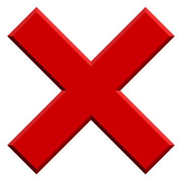 X letter, X shape with bevel effect. Prohibition, restriction, d