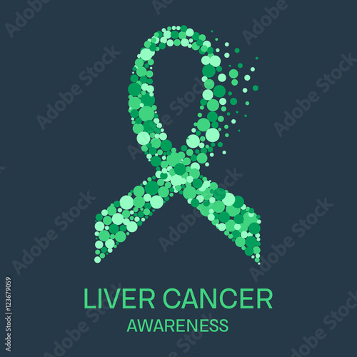 Liver Cancer Awareness Poster Design Template Emerald Green Ribbon