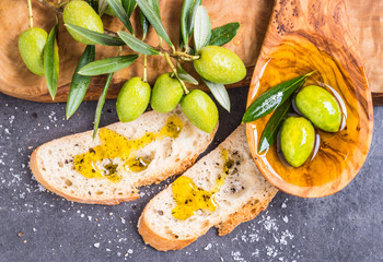 Olive oil, olives and bread.Tasting olive oil.