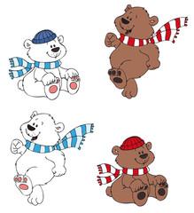 Set bestehend aus vier süßen Bären