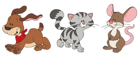 Hund, Katze und Maus mit Winterkleidung