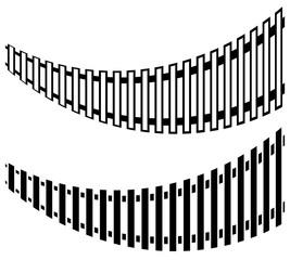 Railway track with 2 version. Subway, tram tracks. Public transp