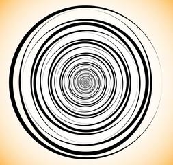 Random concentric circles. Abstract geometric spiral, swirl elem