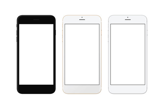 Black, white silver and white gold smart phone isolated. White screen for mockup.