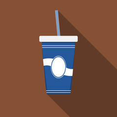 Flat design modern vector illustration of drink icon with long shadow