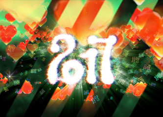 Happy new year 2017 isolated numbers written with light on dark bokeh background and red flying hearts 3d illustration