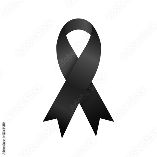 Black Ribbon Mourning And Commemorate Symbol Stock Photo And
