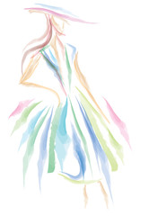 Fashion Artwork, Abstract Watercolor effect, Illustration (Vector Art)