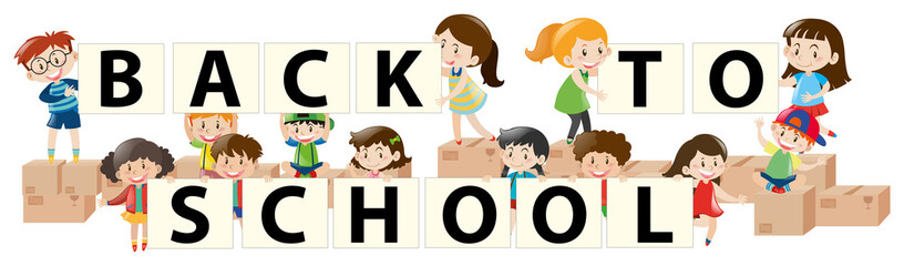 Banner design with kids back to school