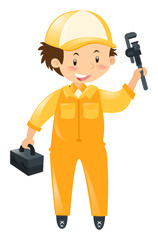 Technician with tool and box