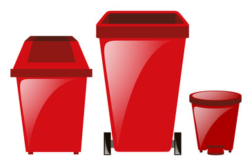 Three red trashcans in different sizes