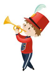 Boy in band uniform playing trumpet