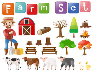 Farm set with farmer and other elements