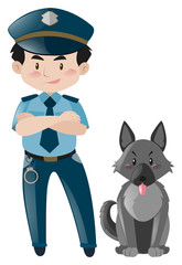 Policeman standing with police dog