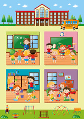 School scenes with teacher and students