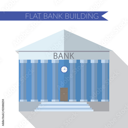 Flat design modern vector illustration of bank building for Modern bank building design