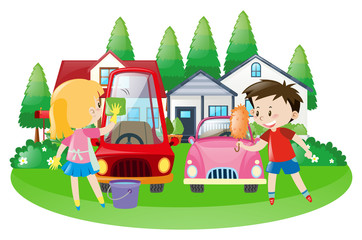 Scene with kids washing car