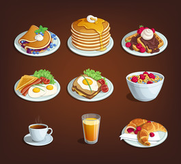 Set of food for breakfast Classic breakfast