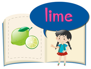 Girl and book with lime picture