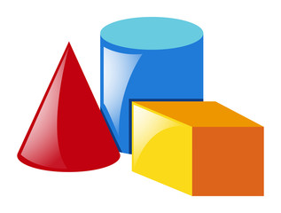 Three shapes on white background