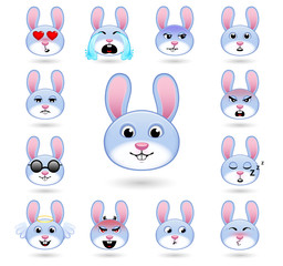 A set of emoticons. Rabbit or hare. Isolated vector illustration on white background. Colored icons