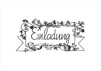 Einladung herbstlich gestaltet - Handlettering handgezeichnet von Hand gemalt Illustration
