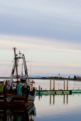 Fishing boat at Comox marina at dusk