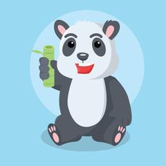 panda sit holding bamboo
