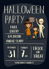Halloween night party poster with funny kids in carnival costumes mummy, vampire and witch with sign - Trick or Treat. Happy Halloween children, cartoon vector illustration on gray background