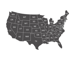 Wall Mural - USA map with states