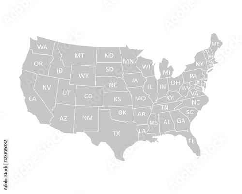 Wall mural USA map with states