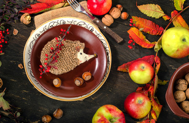 Autumn table setting with fruits.