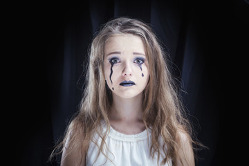 Portrait of a girl dressed for Halloween celebration