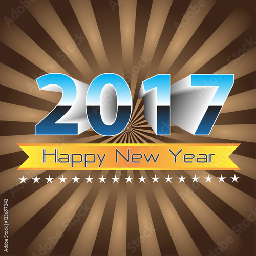 happy new year 2017 gold label banner on brown zoom background vector illustration