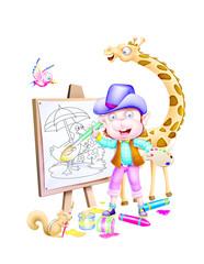 A painter monkey near giraffe,