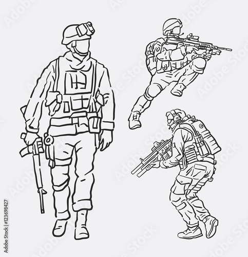 Soldier army action hand drawing  Good use for symbol, logo