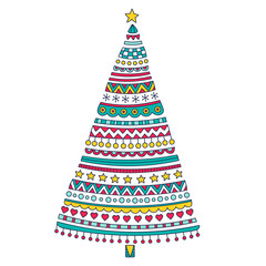 Christmas tree. Vector hand drawn Christmas tree with doodle ornament. Cute holiday design tree with stars, hearts, balls, snowflakes, for children. Yellow, red, green colors. Isolated.